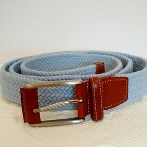 Peter Millar Light Blue Braided Leather Trim Belt